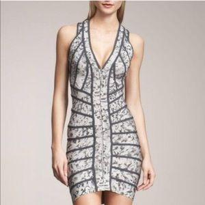 Herve Leger gray floral halter dress xxs